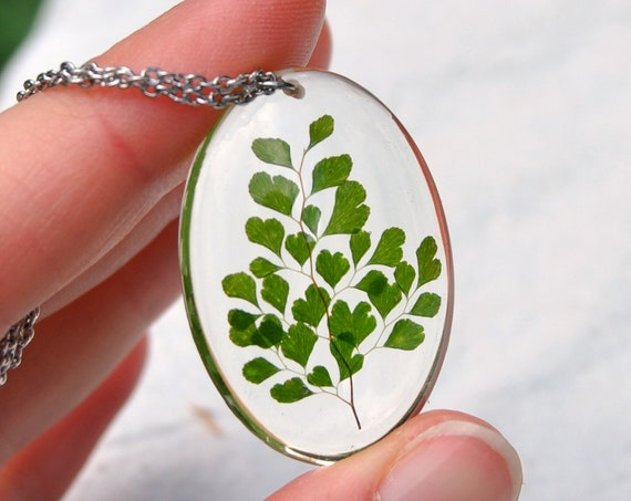 Maidenhair Fern Oval Resin Necklace