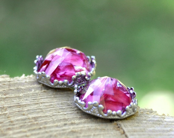Rose Cut Pink Flower Petal and Resin Stud Earrings