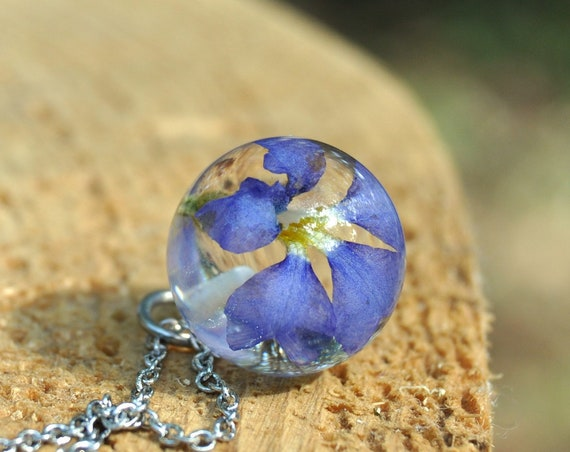 Resin Sphere Necklace - Blue Dampiera - 16 mm