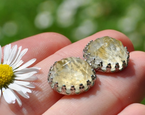 Rose Cut Citrine and Resin Stud Earrings