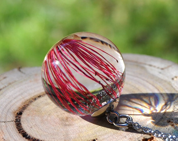 Australian Flower Resin Sphere Necklace - Red Callistemon - 25mm