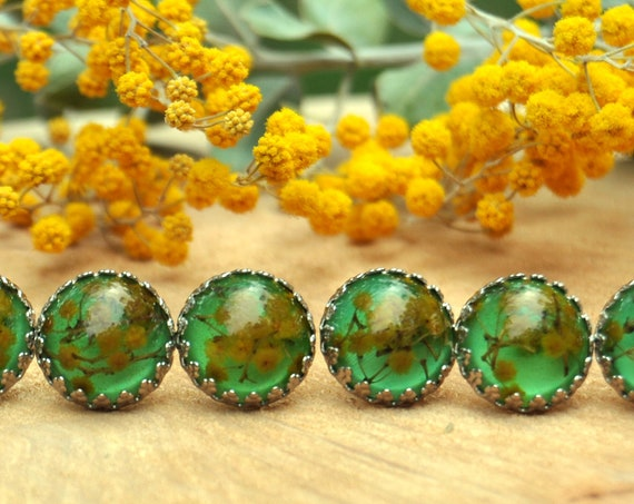Wattle and Resin Stud Earrings - Green