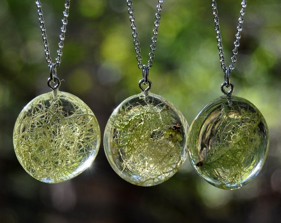 Tree Lichen Resin Pebble Necklace