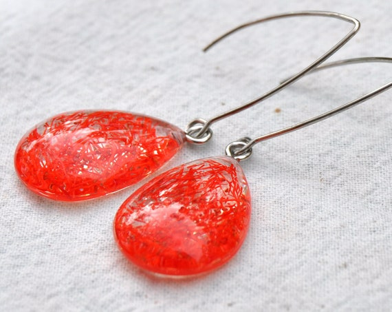 Dangle Teardrop Earrings - Orange Eucalyptus Flower in Resin