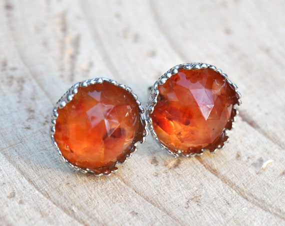 Rose Cut Carnelian and Resin Stud Earrings