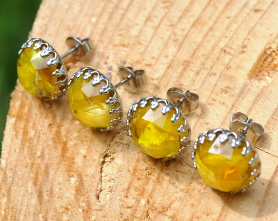 Rose Cut Yellow Everlasting Petals and Resin Stud Earrings