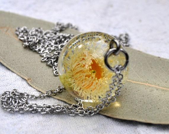 Australian Flower Resin Sphere Necklace - Blue Gum Eucalyptus Flower - 18 mm