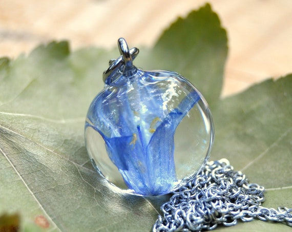 Resin Sphere Necklace - Bluebell - 16 mm