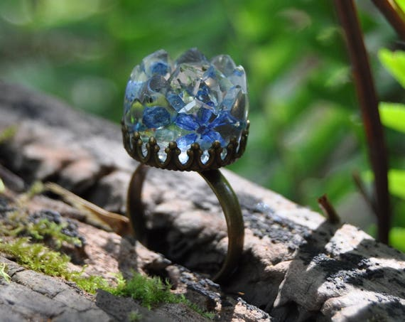 Blue Hydrangea Flower Druzy Ring