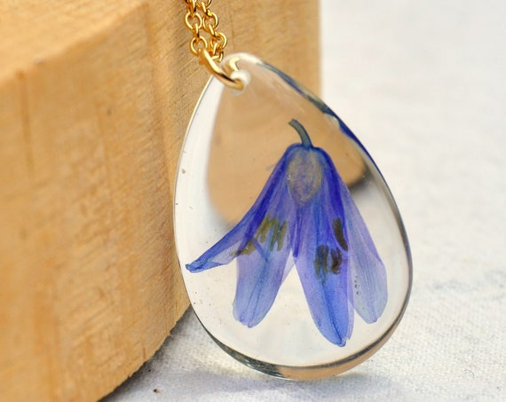 Pressed Bluebells in Resin Drop Necklace