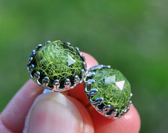 Rose Cut Lichen and Resin Stud Crown Earrings