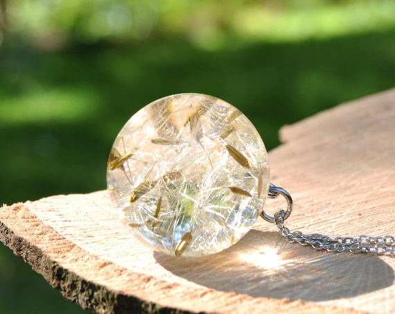 Botanical Resin Sphere Necklace - Dandelion Seed - 25 mm