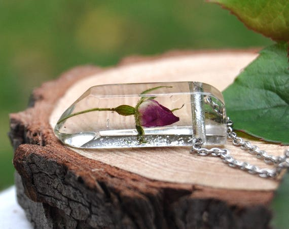 Rose Crystal Resin Necklace