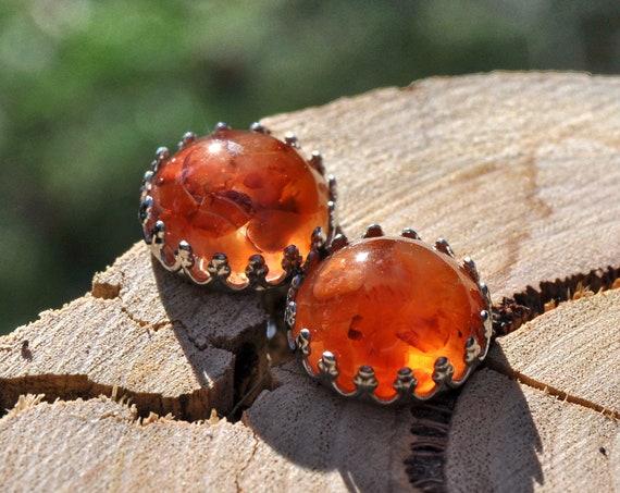 Carnelian and Resin Crown Stud Earrings
