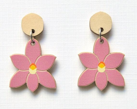 Pink Sun Orchid Earrings