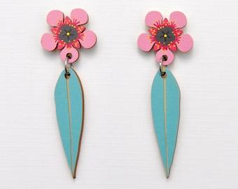 Australian Flower Earrings • Australian Christmas Gift •Tea Tree Blossom Earrings •  Pink Flower Studs • Australian Flower & Leaf Earrings