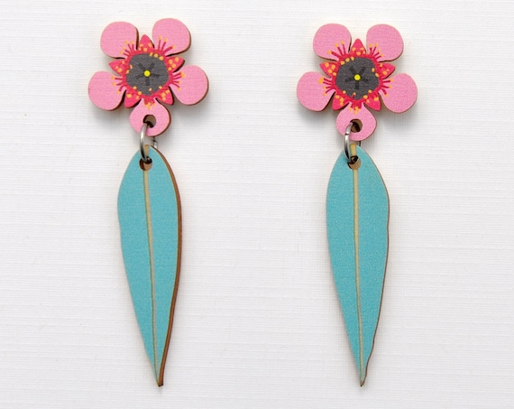 Pink Tea Tree Flower & Gum Leaf Earrings