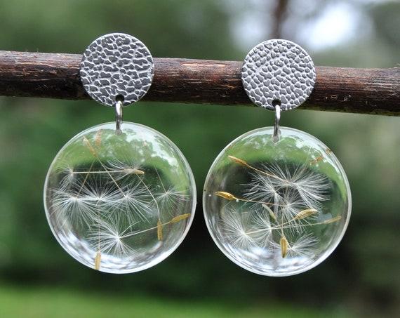Stud Dangle Earrings - Dandelion Seed & Resin