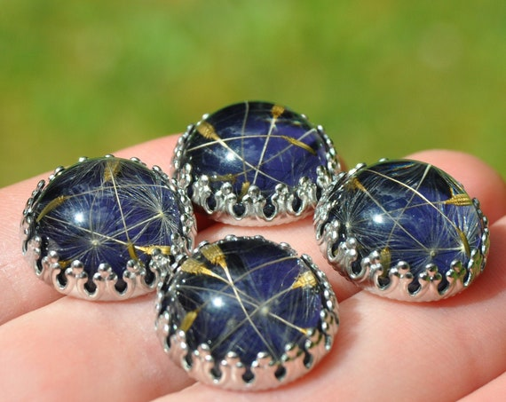 Dandelion Seed and Resin Stud Earrings - Dark Navy