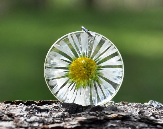 English Daisy Round Resin Necklace