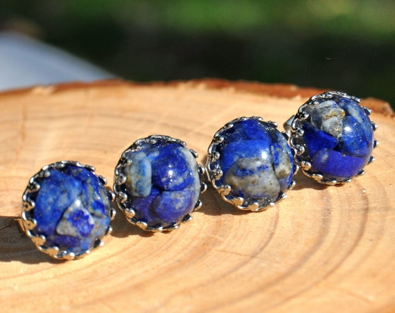 Lapis Lazuli and Resin Crown Stud Earrings