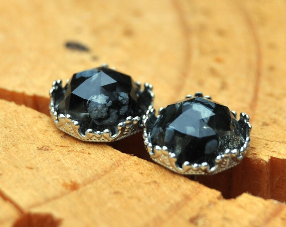 Rose Cut Snowflake Obsidian and Resin Stud Earrings