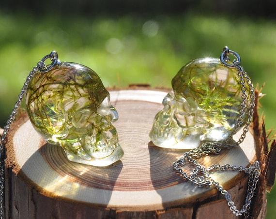 Mossy Skull Resin Necklace