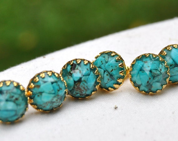 Turquoise and Resin Stud Crown Earrings - Gold