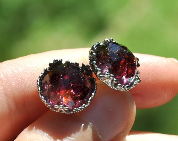 Rose Cut Garnet and Resin Stud Earrings