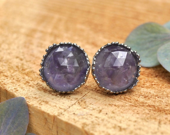 Rose Cut Amethyst and Resin Stud Earrings