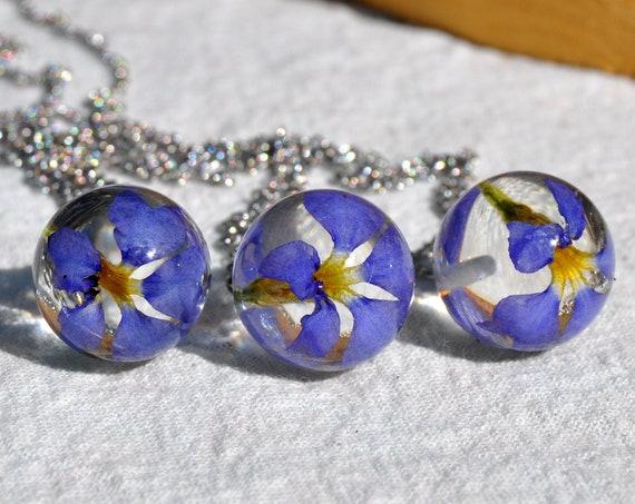 Resin Sphere Necklace - Blue Dampiera - 16 mm