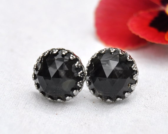 Rose Cut Obsidian and Resin Crown Stud Earrings