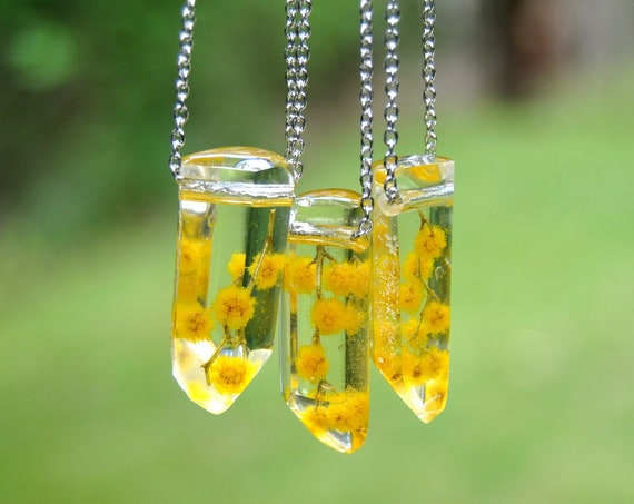 Australian Flower Resin Crystal Necklace - Silver Wattle