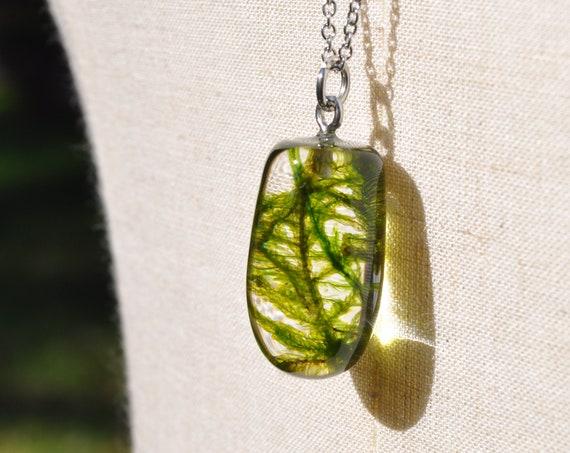 Botanical Resin Semi-Drop Necklace - Feather Moss