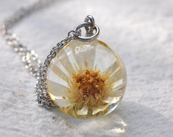 Australian Flower Resin Sphere Necklace - Daisy Bush Flower - 18 mm