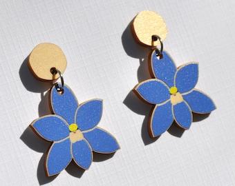 Blue Orchid Earrings • Sun Orchid Earrings • Blue Flower Drop Earrings • Flower Hook or Stud Earrings • Wood Earrings • Christmas Gift