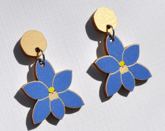 Blue Sun Orchid Earrings