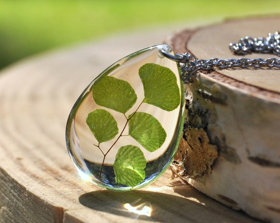 Maidenhair Fern Drop Resin Necklace
