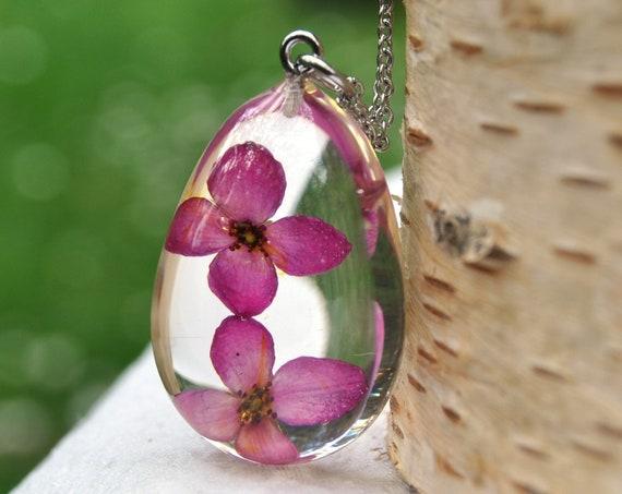 Red Boronia Drop Pebble Necklace