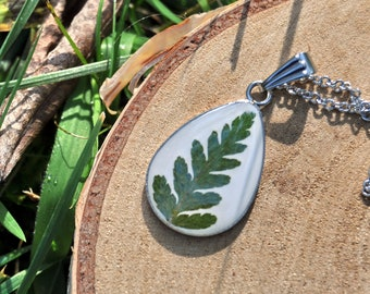 Real Fern Drop Necklace