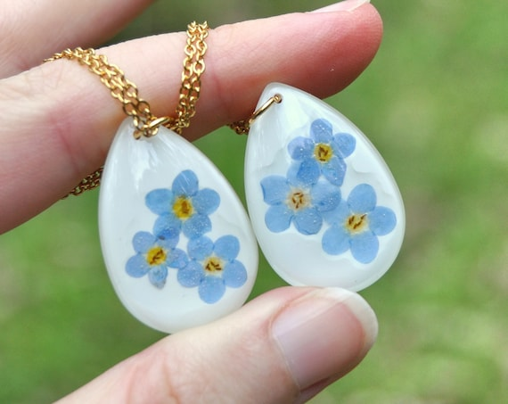 Forget Me Nots in Resin Drop Necklace
