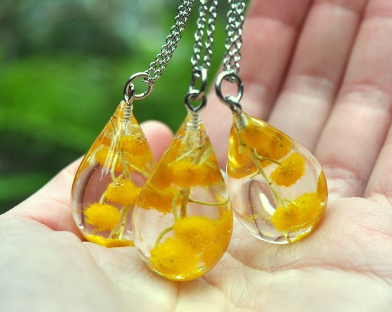 Australian Flower Resin Drop Necklace - Mount Morgan Wattle