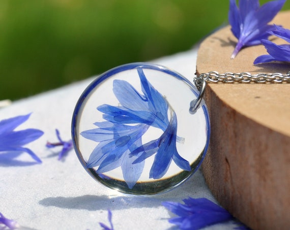 Cornflower Round Resin Necklace