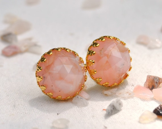 Pink Opal and Resin Stud Crown Earrings - Gold