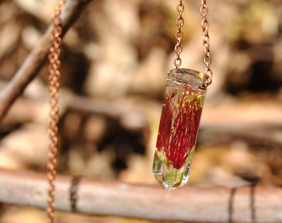 Australian Flower Resin Crystal Necklace - Red Callistemon