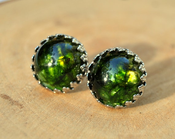 Emerald Green Moss and Resin Stud Earrings