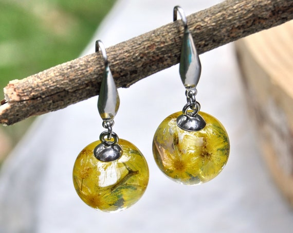 Mini Sphere Dangle Earrings - Silver Wattle Blossoms & Eco Resin