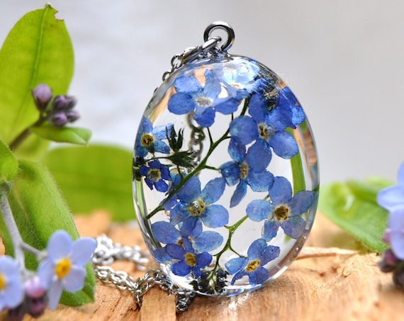 Forget Me Not Garden Resin Pebble Necklace