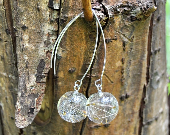Mini Sphere Dangle Earrings - Dandelion Seed & Eco Resin