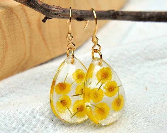 Dangle Teardrop Earrings - Silver Wattle & Resin - Gold